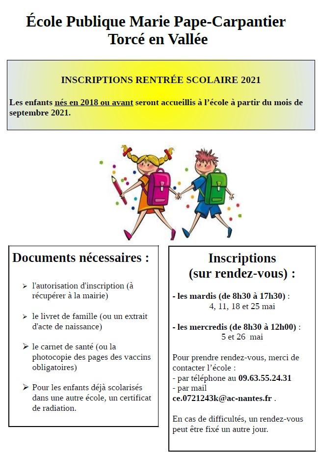 Inscriptions rentrée scolaire 2021