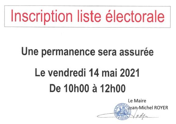 Permanence inscription sur la liste électorale