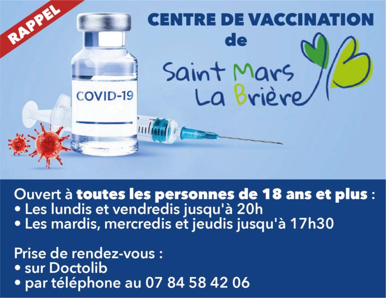 Centre de vaccination de Saint Mars la Brière: recherche de bénévoles