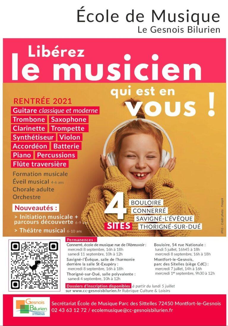 Rentrée 2021 école de musique