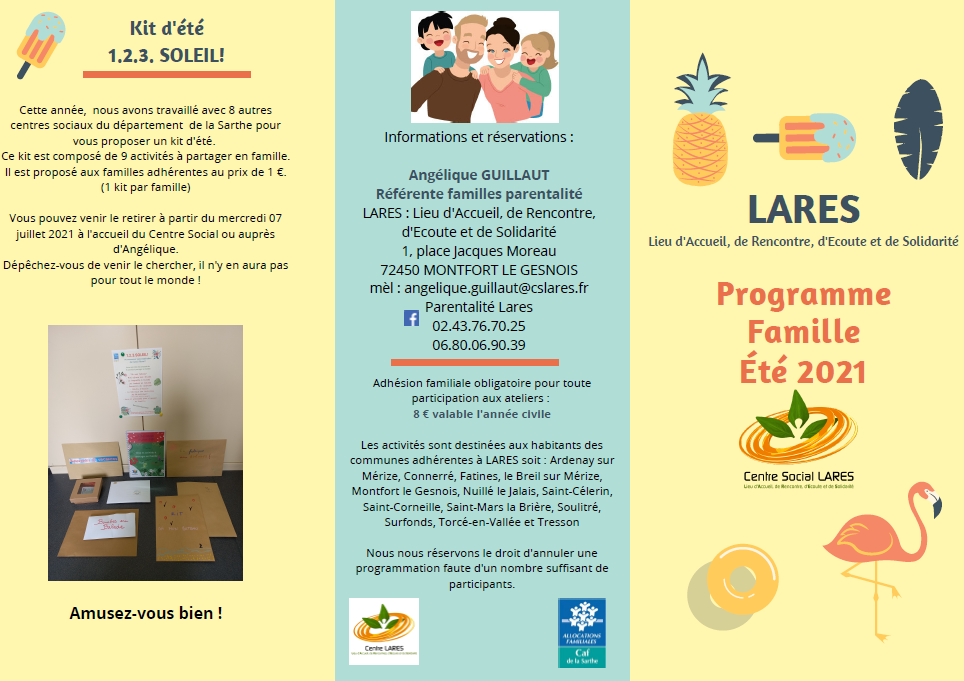 Programme famille été 2021 du centre social LARES